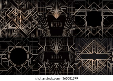 Art Deco vintage bronze patterns and frames over black. Retro party geometric background set (1920's style). Vector illustration for glamour party, thematic wedding or textile prints.