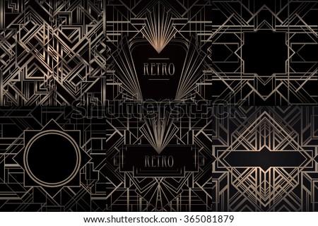 Art Deco vintage bronze patterns and frames over black. Retro party  geometric background set ( 0bd08682ef