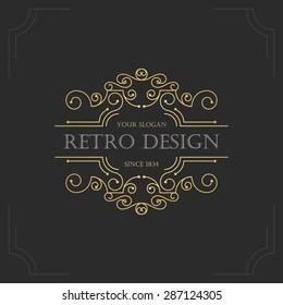 Art deco vintage design of retro flourishes frames. Vector