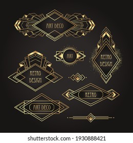 Art Deco vintage gold patterns over black, frames and design elements. Retro party geometric background set (1920's style). Vector illustration for glamour party, thematic wedding or textile prints.