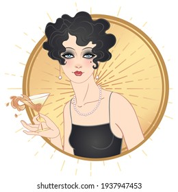 Art Deco vintage illustration of flapper girl. Retro party character in 1920 s style. Vector design for glamour event or jazz party.