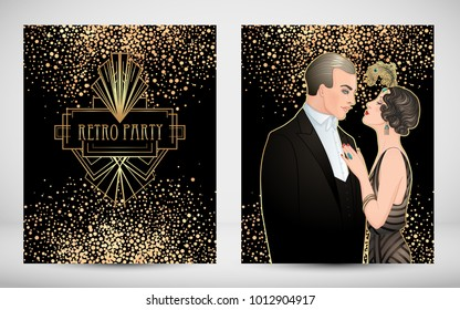 Art Deco vintage invitation template design with illustration of flapper girl. patterns and frames. Retro party background set (1920's style). Vector for glamour event, thematic wedding or jazz party.