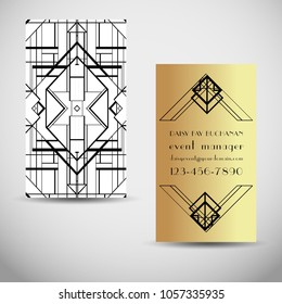 Art Deco vintage invitation template design. patterns and frames. Retro party geometric background set (1920's style). Vector illustration for glamour event, thematic wedding or jazz party.