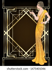 Art Deco vintage invitation template design with illustration of flapper girl. patterns and frames. Retro party background set in 1920's style. Vector for glamour event, thematic wedding or jazz party