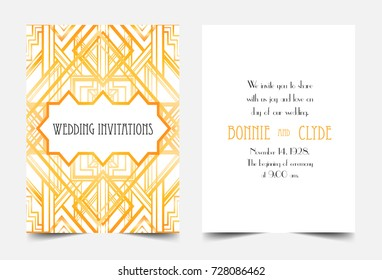 Art Deco vintage invitation template design. patterns and frames. Retro party geometric background set (1920's style). Vector illustration for glamour event, thematic wedding, jazz party. Sample text