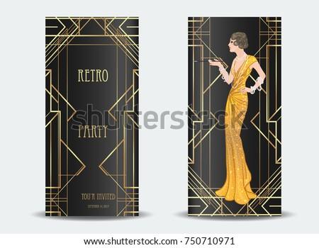 Art Deco vintage invitation template design with illustration of flapper  girl. patterns and frames. 2dec471fd5