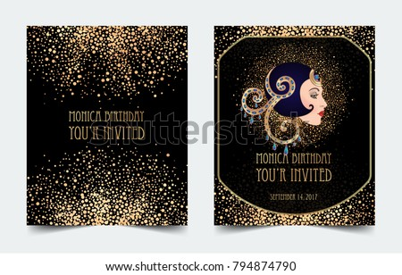 Art Deco Vintage Invitation Template Design Stock Vector Royalty