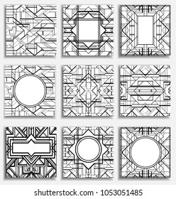 Art Deco vintage patterns and design elements. Retro party geometric background set (1920's style). Vector illustration for glamour party, thematic wedding or textile prints in black and white.