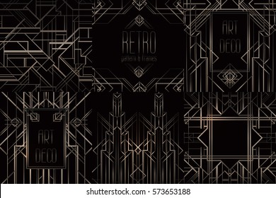 Art Deco vintage patterns and design elements. Retro party geometric background set (1920's style). Vector illustration for glamour party, thematic wedding or textile prints.