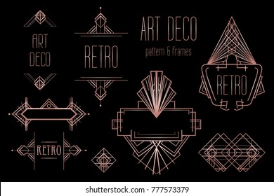 Art Deco vintage patterns and design elements. Retro party geometric background set (1920's style). Vector illustration for glamour party, thematic wedding or textile prints in trendy rose gold metal.