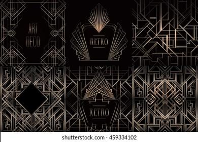 Art Deco vintage patterns and frames. Retro party geometric background set (1920's style). Vector illustration for glamour party, thematic wedding or textile prints.