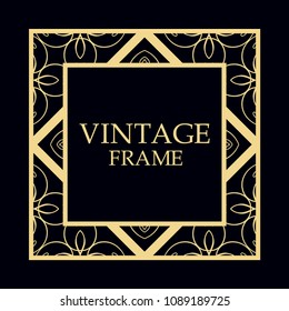 Art deco vintage retro frame. Template for design