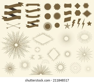 Art Deco Vintage sun burst frames, geometric shapes and design elements collection for your design. Great for retro style projects. Vector set