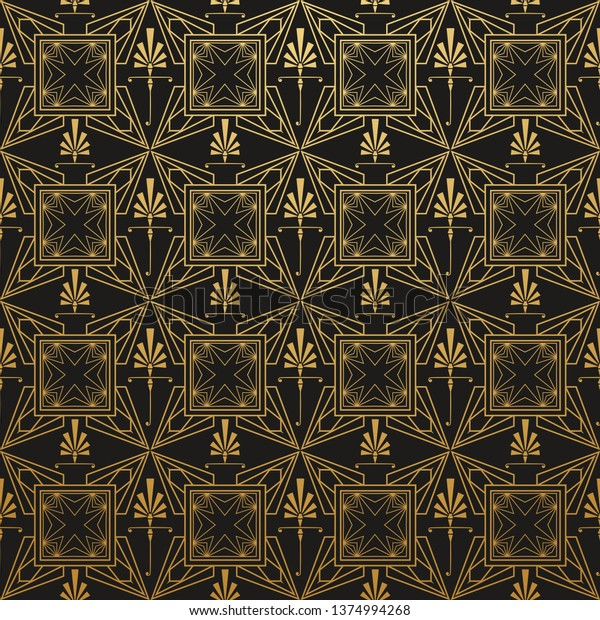 Art Deco Wallpaper Black Gold Pattern Stock Image