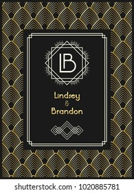 Art Deco wedding invitation card template with monogram initials logo LB letters. Vector card in black, white and golden colors. The 1920's 1930's style.