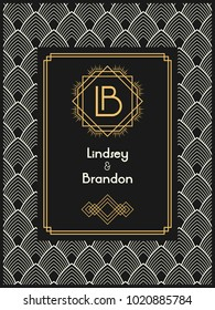 Art Deco wedding invitation card template with monogram initials logo LB letters. Vector card in black, beige and white colors. The 1920's 1930's style.