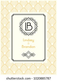 Art Deco wedding invitation card template with monogram initials logo LB letters. Vector card in vintage white, beige and black colors. The 1920's 1930's style.