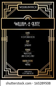 art deco wedding invitation card vector/illustration