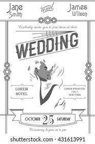 Art deco wedding invitation card template on white background vector illustration