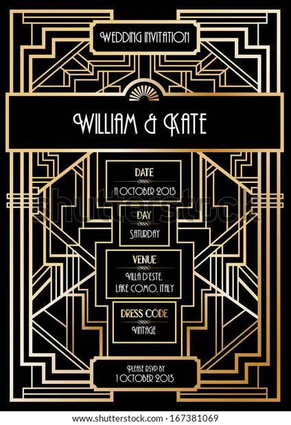 Art Deco Wedding Invitation Card Template Stock Vector