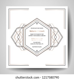 Art deco Wedding Invitation, Luxury Save the Date card with gold geometric frame. Vector trendy cover, graphic poster, gatsby 1920 brochure, design template