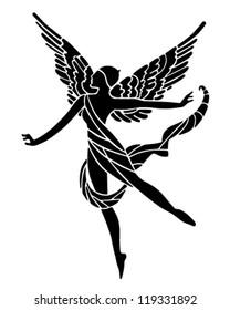 Art Deco Winged Goddess - Retro Clipart Illustration