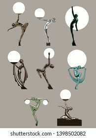 Art Deco Women, Artistic Poses Statues from the 1920s