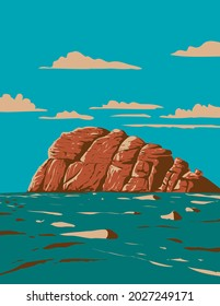 Art Deco or WPA poster of Haytor, Haytor Rocks, Hay Tor or Hey Tor located on Dartmoor National Park, Devon, England, United Kingdom done in works project administration style.