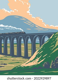 Art Deco or WPA poster of steam train on railway over Batty Moss or Ribblehead Viaduct in Yorkshire Dales National Park, northern England, United Kingdom done in works project administration style.