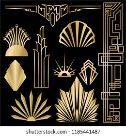 Art deco/Art nuvo diy vector golden black elegant  set of objects for print and web. Creative illustration.