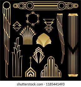 Art deco/Art nuvo diy vector golden black elegant  set of objects for print and web. Creative illustration.