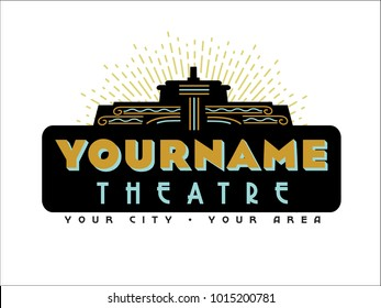 An art deco-style marquee logo for a theatre company or theatre building