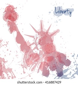 Art design of Statue of Liberty, ink and watercolor painting. Design for fourth july celebration USA. American symbol.
