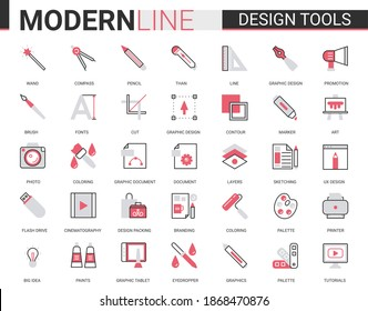 Art design tool flat thin red black line icons vector illustration set, outline professional creative artistic studio items collection of designer pictogram process equipment, interior repair supplies