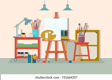 Art drawing design studio furniture. .Creative workshop room with canvas, paints, brushes, easel and pictures. Design salon for artists. Flat style vector isolated illustration.