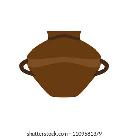 Art earthen clay vase water vector illustration. Jug pottery master kitchen. Old ancient isolated jar milk. Icon cultural shiny antique amphora bowl. Traditional vintage terracotta oil.