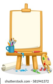 Art easel with colors, brushes and color palette