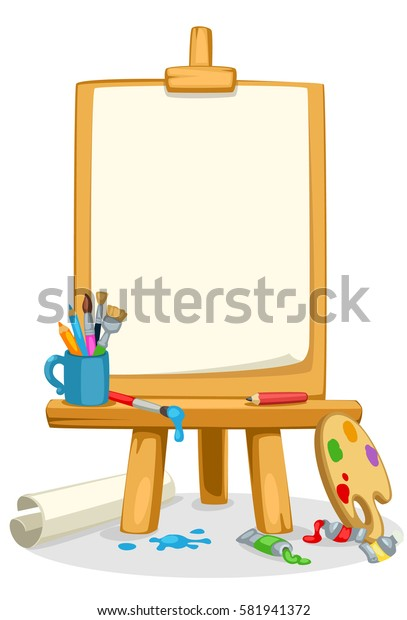 Art easel with colors, brushes and color palette beautiful vector illustration