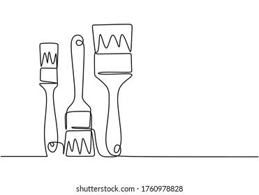 Art equipment of paint brush one continuous line drawing. Types of brushes to paint single hand drawn art line doodle outline isolated minimal illustration cartoon character flat