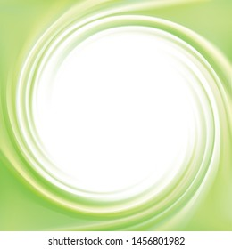 Art fancy modern creative wonderful wavy eddy futuristic pea kiwi color backdrop of glossy rippled curvy spraying surface. Closeup view banner. Space for text in glowing white center middle border