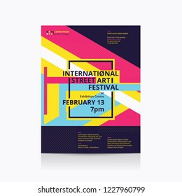 Art festival poster Layout with geometric shapes. Vector illustration.