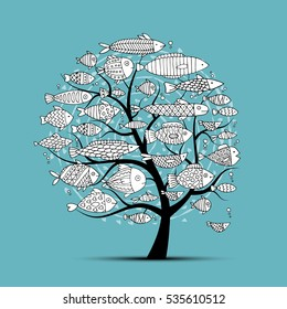 Art fish tree, sketch for your design