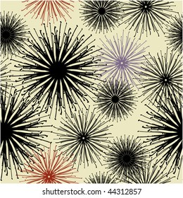 art floral drawing graphic seamless pattern with dandelion