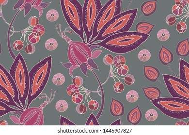 Art floral vector seamless pattern. Fabulous flowers, fruits and berries isolated on grey background. For fabric, home and kitchen textile, wallpaper design, wrapping paper, template, backdrop.