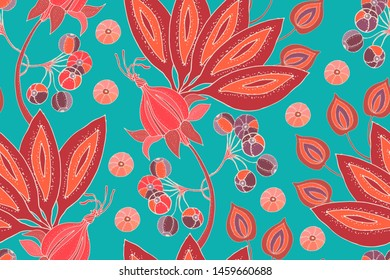 Art floral vector seamless pattern. Fabulous flowers, fruits and berries isolated on marine background. For fabric, home and kitchen textile, wallpaper design, wrapping paper, template, backdrop.