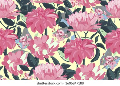 Art floral vector seamless pattern. Pink asters, dahlias, chrysanthemums, deep green branches, leaves isolated on yellow background. Endless pattern with flowers for wallpaper, fabric, textile.