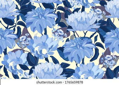 Art floral vector seamless pattern. Blue asters, dahlias, chrysanthemums, deep blue branches, leaves isolated on light yellow background. Endless flowers background for wallpaper, fabric, textile.