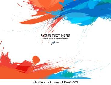 art frame vector with brush strokes - vector illustration