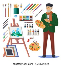 Art frenchman or artist man, painter with beret and scarf. Easel and picture, paintbrush and paint, ink pen and acrylic brush, frames, colorful paint, oil and gouache. Artistic tools or equipment
