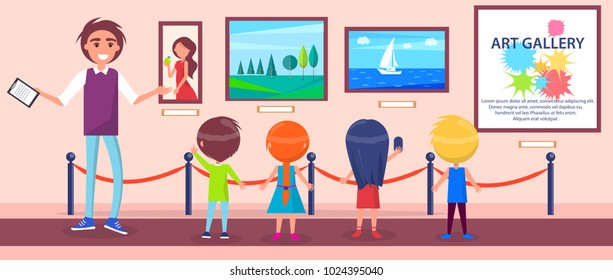 Art gallery excursion for school children with guide. Woman portrait, natural landscape and seascape with sailboat vector illustrations.
